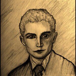 Franz Kafka, disegno di Simone Ordine, psicologo e psicoterapeuta Roma Prati